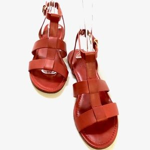 J.Crew Olympia Leather Sandals in Radio Red s. 9.5